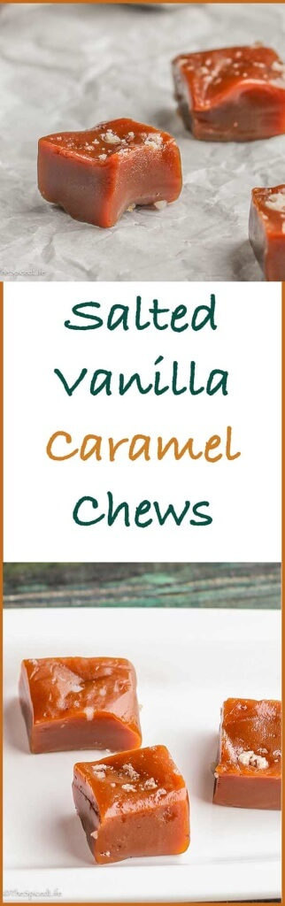"Salted Vanilla Bean Caramel Chews: If I ever didn't make these for the Holidays my whole family would riot!! Luckily they are really easy!! Perfect for holiday ""cookie"" tins!"