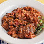 Beer Braised Beef with Thyme, Mushrooms and Beans