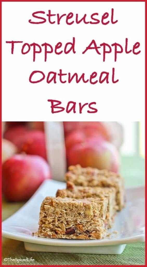 Pecan and Oat Streusel Topped Oatmeal Bars with Dried Apples and Cranberries: these are autumn in a bar cookie--but thanks to dried apples they can be enjoyed year round!