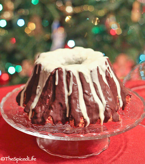 White and Dark Chocolate Coated Peppermint Pound Cake