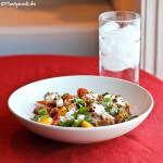 Farro Pasta with Pineapple, Sausage and Goat Cheese