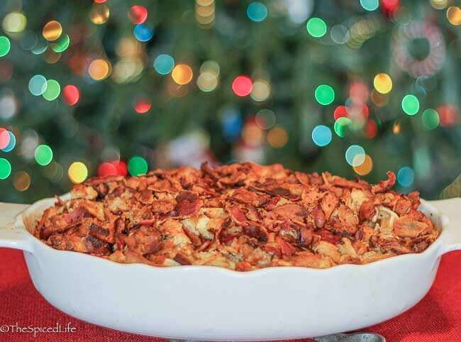 Make Ahead Maple Waffle Breakfast Casserole with Bacon and Sausage for Breakfast or Brunch! PERFECT for Christmas morning or a weekend when you want something extra special!