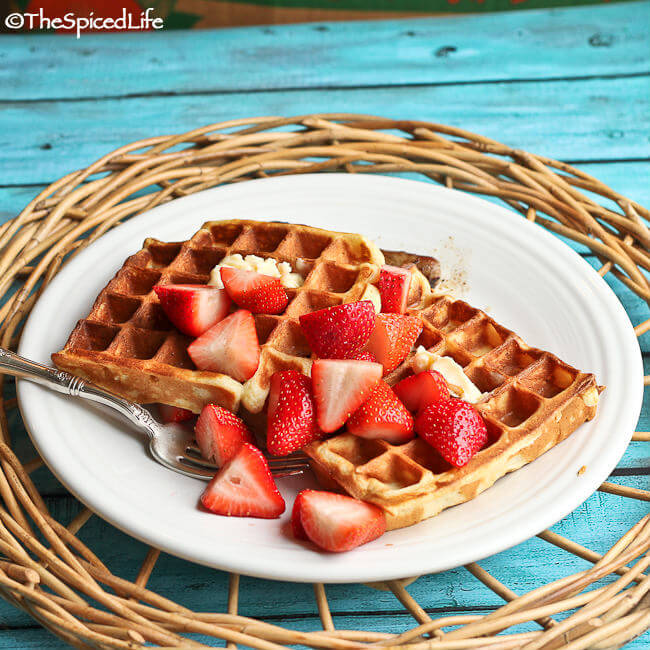 Ricotta-Yogurt Waffles Topped with Strawberries Lightly Macerated in ...