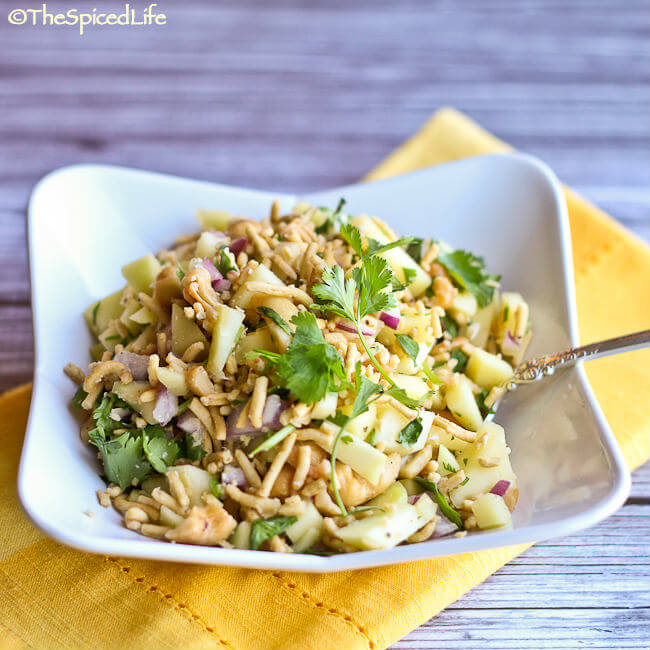 Green Mango Chaat -- a crispy, tart, refreshing snack salad from India with cashews, green mango and sev (fried chickpea noodles)