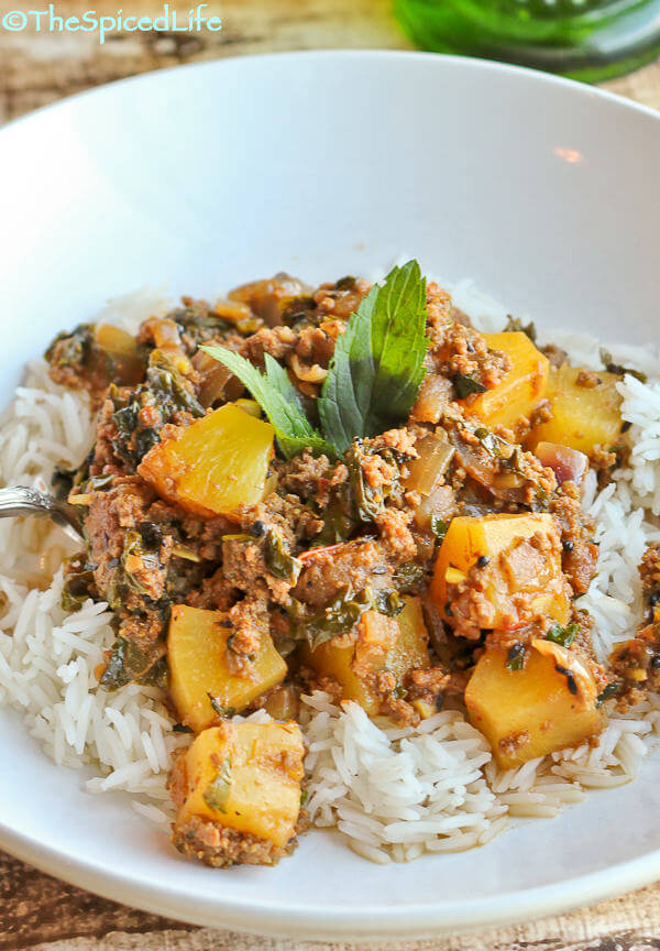 Pineapple and Beef Kheema with Kale and Pancho Phoron (Indian Ground Beef Curry made easy with canned pineapple)