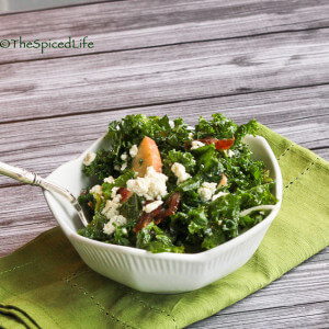 Massaged Kale Salad with Dates, Candy Onions, Blue Cheese and Peaches