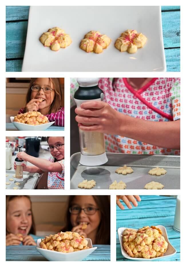 Kids using OXO cookie press
