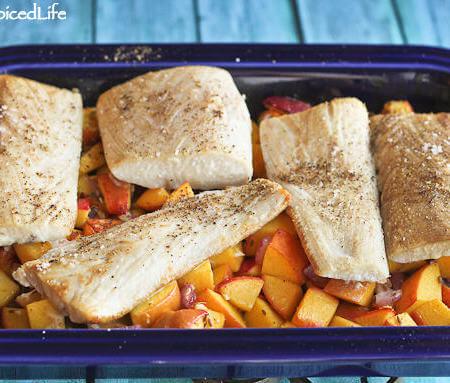 Mahi Mahi Roasted Over Peaches and Nectarines: choose any white fish and roast it over seasonal fruit!