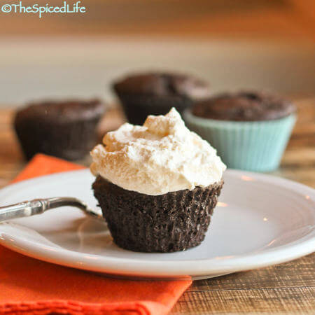 Individual Double Chocolate Teacakes Topped with Whipped Cream