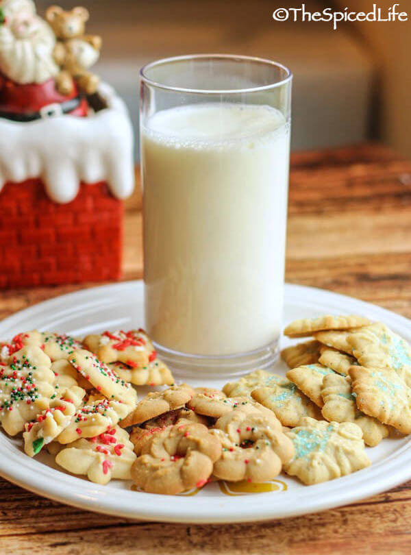 The same EASY basic cookie press dough flavored 3 different ways for the holidays: Fiori di Sicilia (citrus vanilla); Salt and Pepper Maple; Peppermint