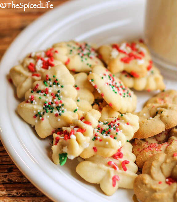 Cookie Press Peppermint Christmas Tree Cookies--super easy and super fast!