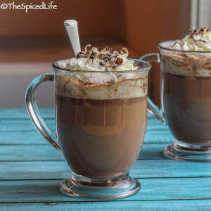 Voodoo Spiked Hot Chocolate: rum, coffee, chocolate and cream make for a delightful winter drink!