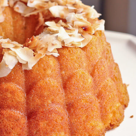 Coconut Oil Pound Cake with Flaked Coconut Glaze