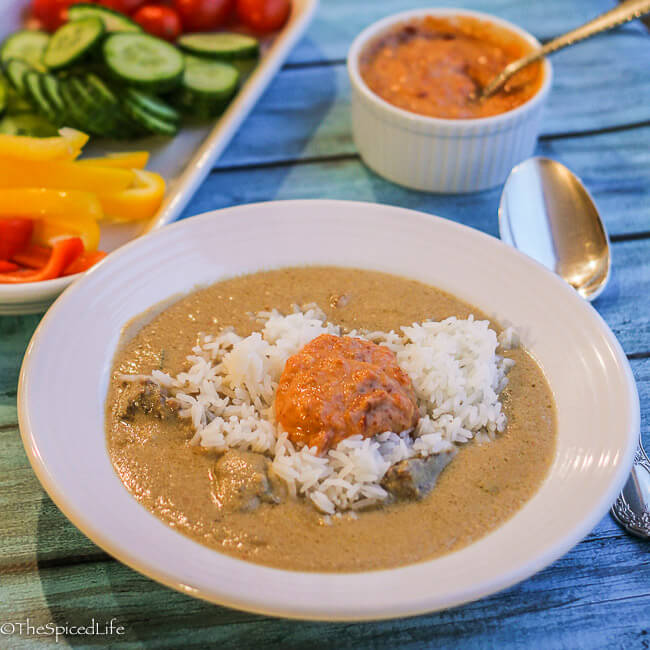 Indonesian Coconut Beef Soup with Carrots and Sambal