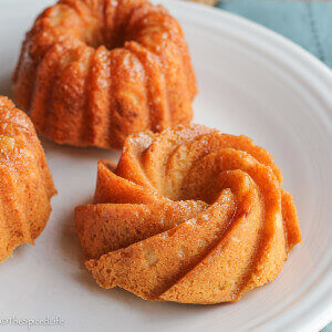 Lemon Glazed White Chocolate Cream Cheese Pound Cake Mini Bundts