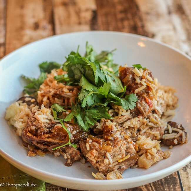 Biryani Gosht: a traditional Moghul Indian layered rice dish usually made with lamb, mutton or goat--but you can make it with any red meat!