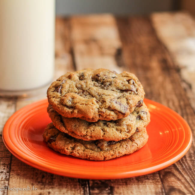 Rosemary Bourbon Chocolate Chunk Cookies with Pecans and Smoked Sea Salt