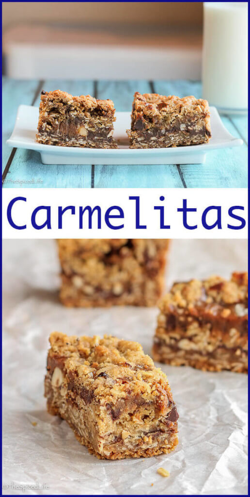 Carmelitas: Bar cookies made of Oats, hazelnuts, chocolate, dulce de leche and everything that is happy!