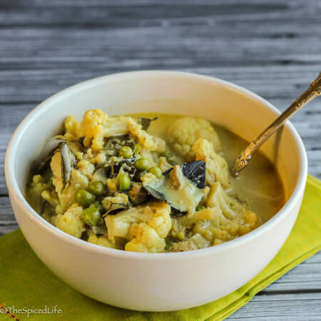 Kerala-Style Chicken and Cauliflower Stew--super healthy from the cauliflower (which subs for potatoes) and super easy from using canned coconut milk! This is a weeknight winner!