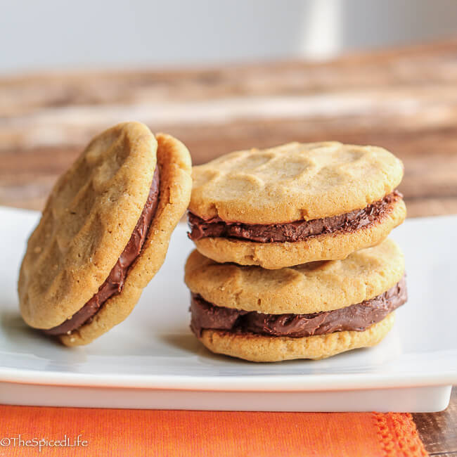 peanut butter sandwich cookies with peanut butter chocolate ganache: craggy, rustic, thick and absolutely addictive!