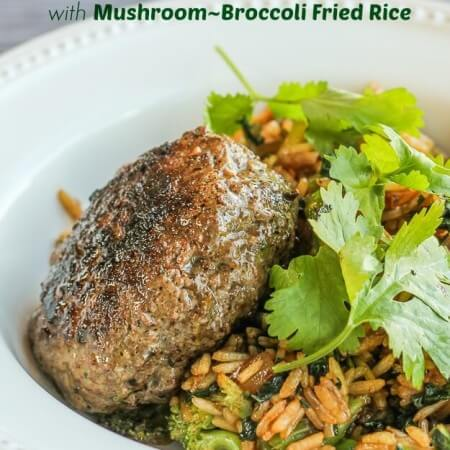 Thai Burger with Mushroom-Broccoli Fried Rice--great fast, easy, delicious dinner!