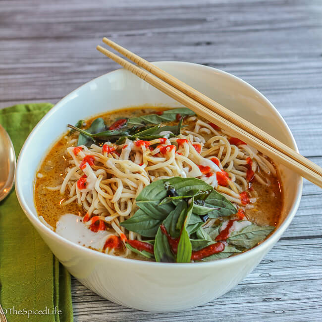 Thai Curried Ramen Bowl with Ground Beef and Veggies: super simple with amazing flavor!
