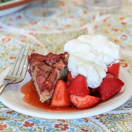 Rhubarb Upside Down Cake served with Strawberries--an AMAZING spring dessert!