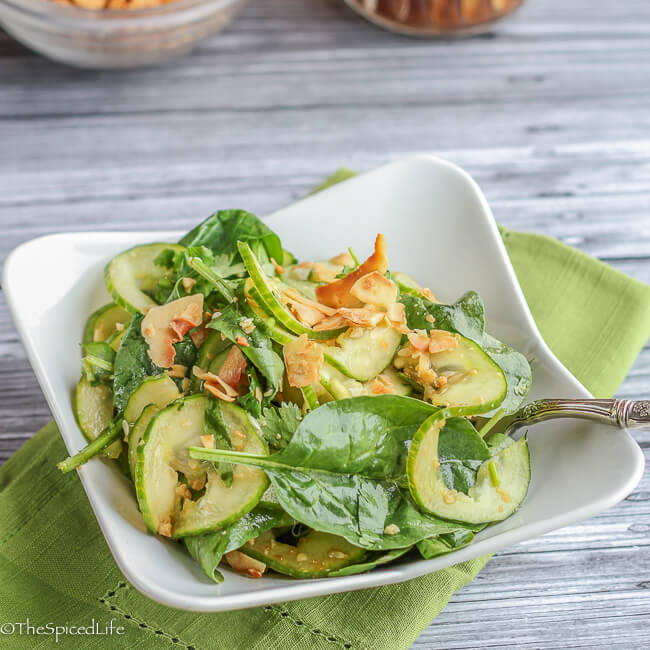 Cucumber Baby Spinach Salad with Coconut and Peanuts: This unusual, healthy salad is surpirizingly delicious--refreshing, crunchy and rich with nutrients!