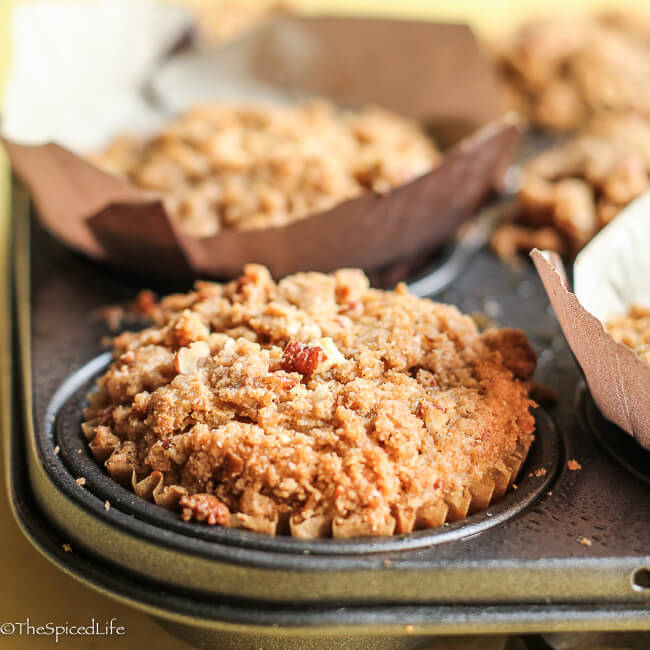 Sour Cream Peach Muffins with Pecan Streusel--easy, fun to bake with kids, delicious, and full of healthy ingredients!