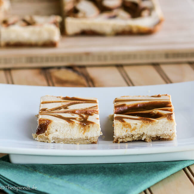 Caramel Swirled Cheesecake Bars--unbelievable easy and so delicious! Completely from scratch!