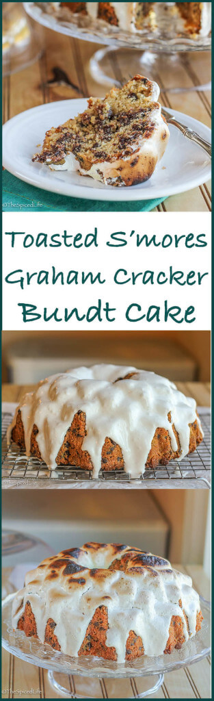 Toasted S'mores Graham Cracker Bundt Cake: a graham cracker cake filled with chocolate chip and swathed in toasted marshmallow fluff does a pretty darn good job of emulating your favorite summer treat!