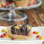 Triple Dark Chocolate Muffins are an awesome treat for kids! Fast, easy, made with almost half whole grain flour, and seriously, seriously CHOCOLATE!