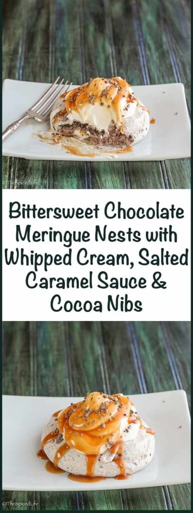 Bittersweet Chocolate Meringue Nests with Whipped Cream, Salted Caramel Sauce and Cocoa Nibs--the dessert is restaurant worthy and yet incredibly easy!