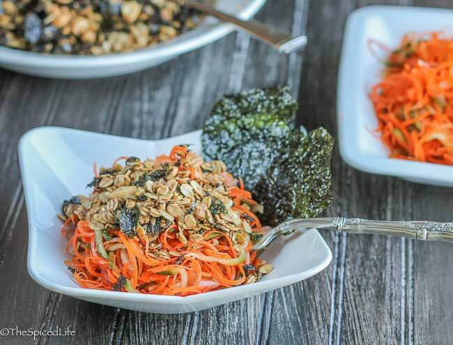 Spiralized Sake Carrot Salad with Nori Granola--unexpected but absolutely delicious and easy!