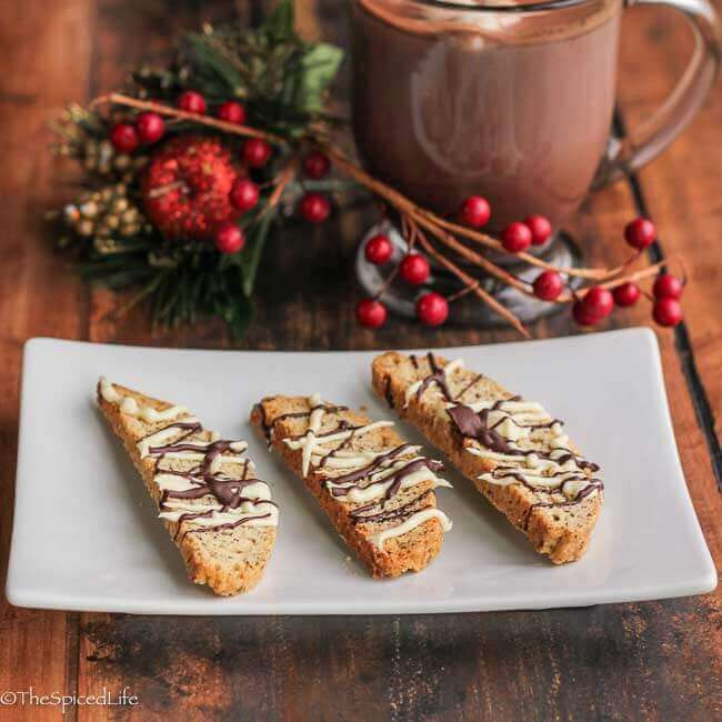 Biscotti drizzled with dark chocolate and peppermint white chocolate