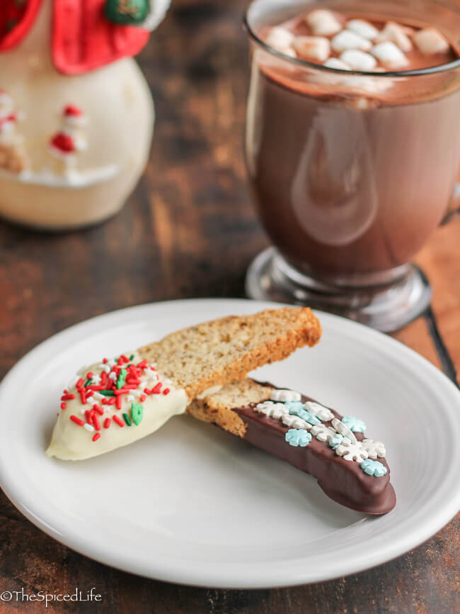 Biscotti dipped in dark chocolate and white chocolate with sprinkles