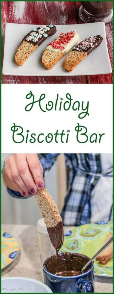 Holiday Biscotti Bar: Dip and Decorate Your Own Biscotti. Choose some chocolates, choose some sprinkles, and be prepared to have a blast decorating biscotti for your Christmas or Holiday tins!