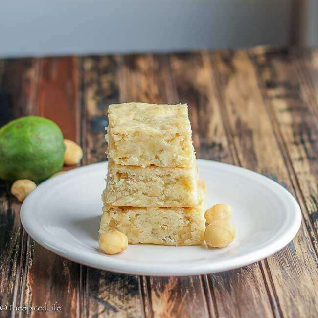 Lime Coconut Bars with Macadamia Nuts and White Chocolate Chunks