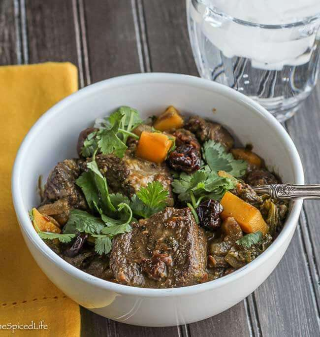 Parsi Braised Beef with Dried Cherries, Greens and Mango