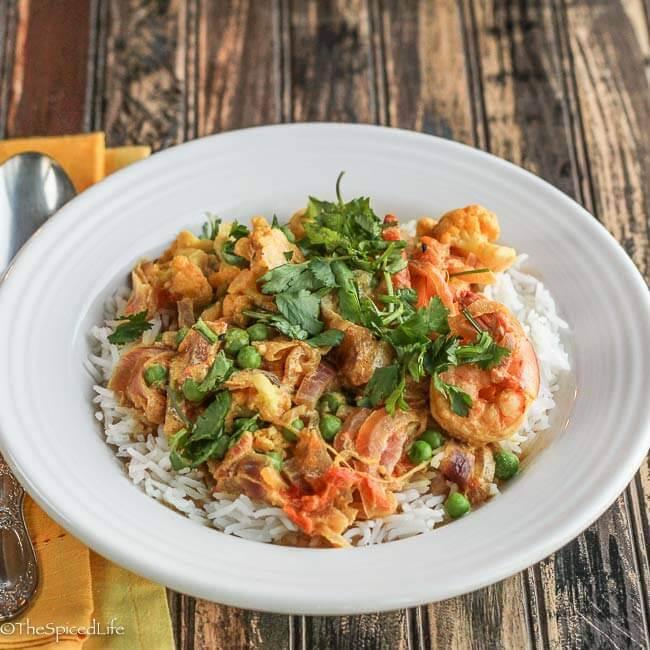Bengali Shrimp and Cauliflower with Peas