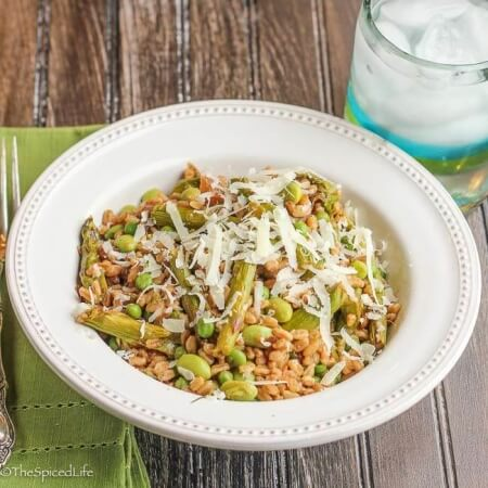 Farro Salad with Asparagus, Edamame and Peas