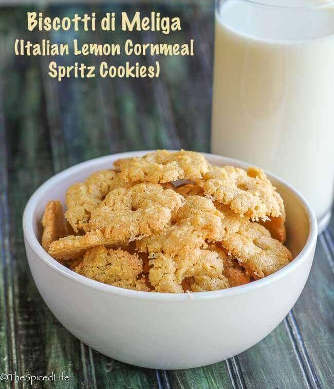 ... di Meliga (Italian Lemon Cornmeal Spritz Cookies) - The Spiced Life