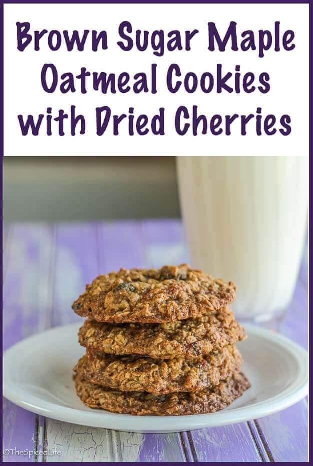 Brown Sugar Maple Oatmeal Cookies with Dried Cherries--or raisins!