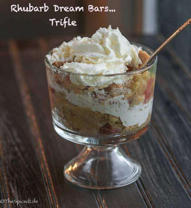 Rhubarb Dream Bars--delicious but difficult to slice, so better served as a trifle!