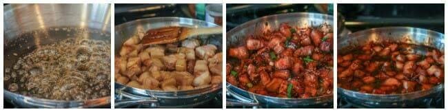 Red Cooked Pork: caramelizing sugar and stir frying the pork belly