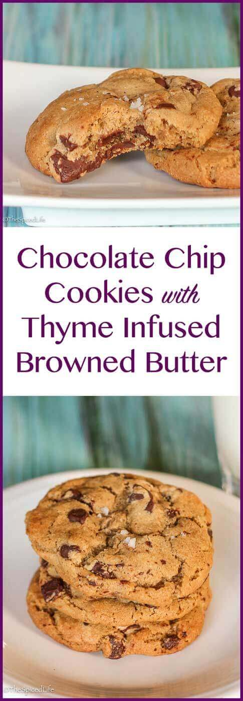 Chocolate Chip Cookies with Thyme Infused Browned Butter
