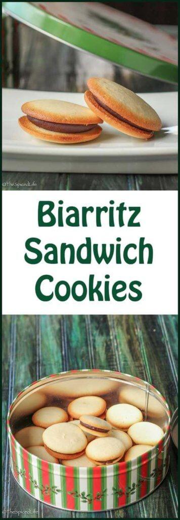Biarritz Sandwich Cookies: crisp French butter cookies sandwiched around dark chocolate ganache
