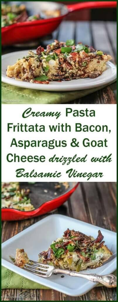 Creamy Pasta Frittata with Bacon, Asparagus and Goat Cheese drizzled with Balsamic Vinegar