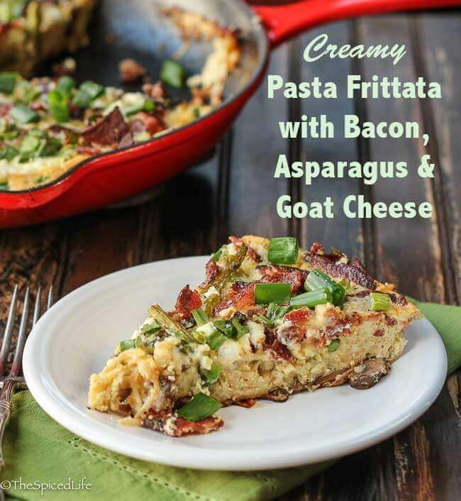 Creamy Pasta Frittata with Bacon, Asparagus and Goat Cheese
