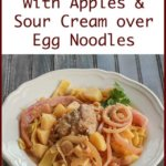 Pork Tenderloin with Sour Cream and Apples served over egg noodles